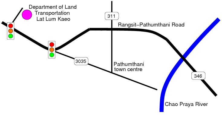 Map to Department of Land Transportation, Pathumthani