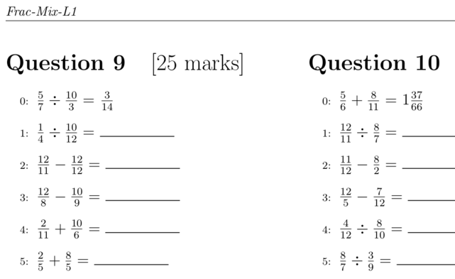 Printable PDF Math Exercises