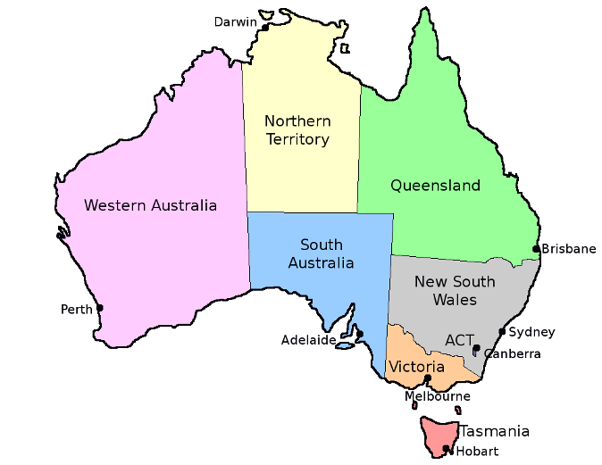 Map Of Australia With States.Australia