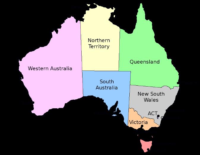 Map Of Australia And States.Australia