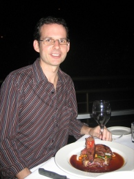 Steve eating Kangaroo at Red Ochre Restaurant