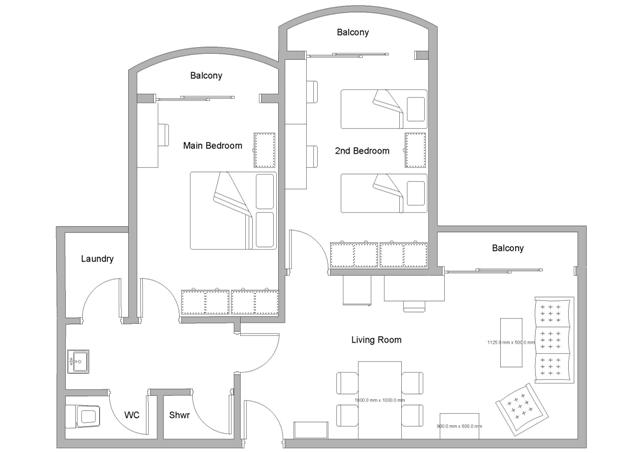 Plan of room at Thammasat